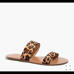 Summer slide sandals in leopard calf hair